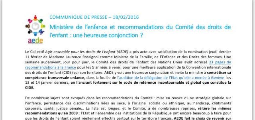 Communiqué de presse AEDE 18/02