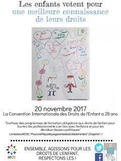 1 mois 1 droit – Novembre 2017 : Les enfants votent pour une meilleure connaissance de leurs droits