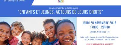 « Enfants et jeunes – acteurs de leurs droits », la table-ronde d'AEDE et du Groupe Enfance le 29 novembre au Palais Bourbon